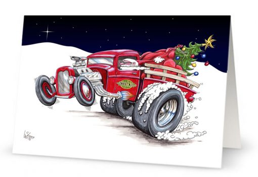 Hot Rod Santa Christmas Card