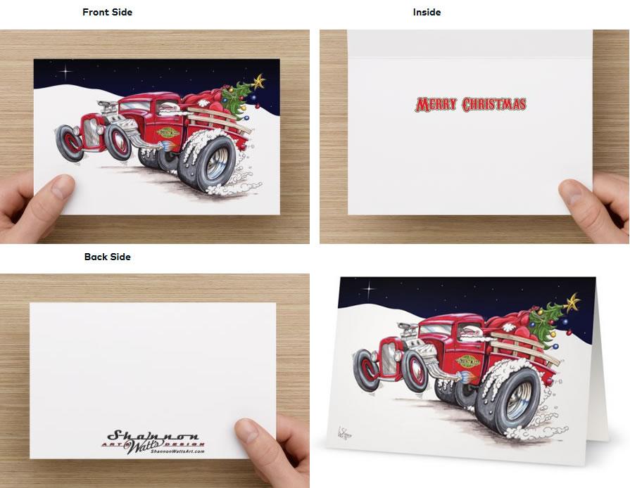 Hot Rod Santa Christmas Cards | Shannon Watts Art & Design